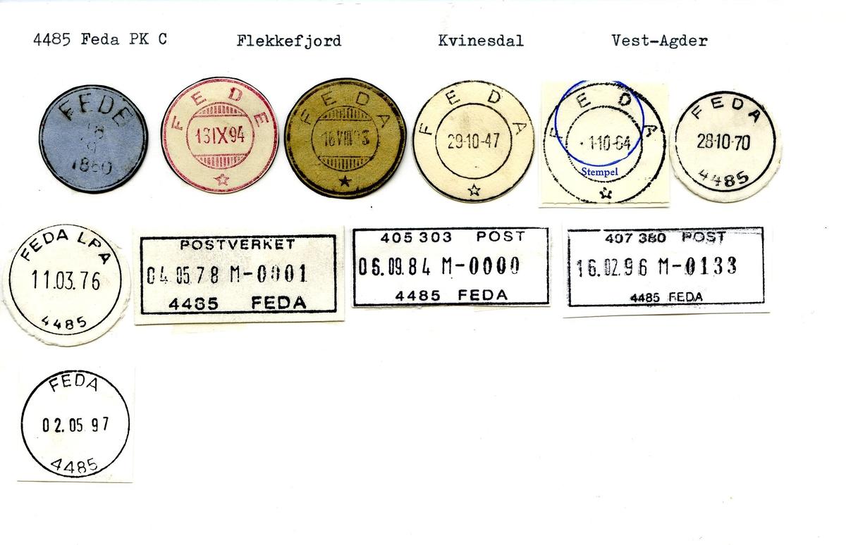 Stempelkatalog, 4485 Feda Pk. C., Flekkefjord postkontor, Kvinesdal kommune, Vest-Agder fylke.