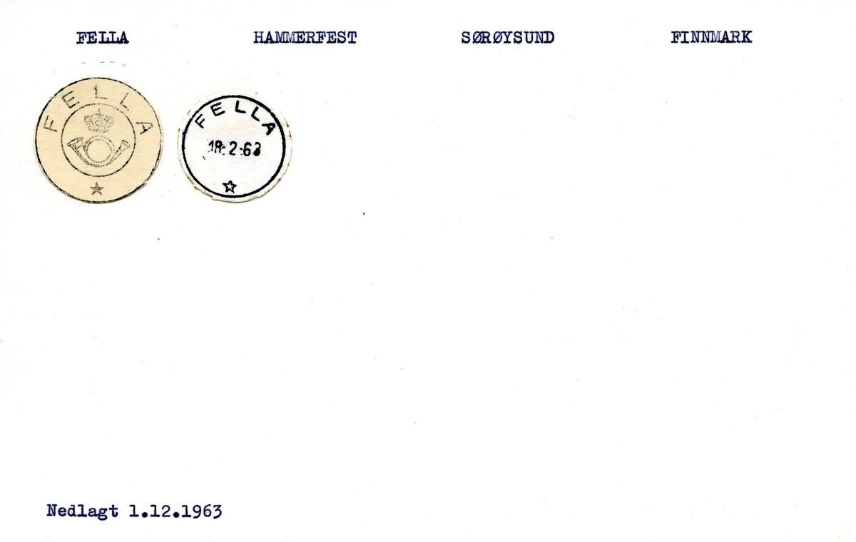 Stempelkatalog, Fella, Hammerfest postkontor, Sørøysund kommune, Finnmark fylke.