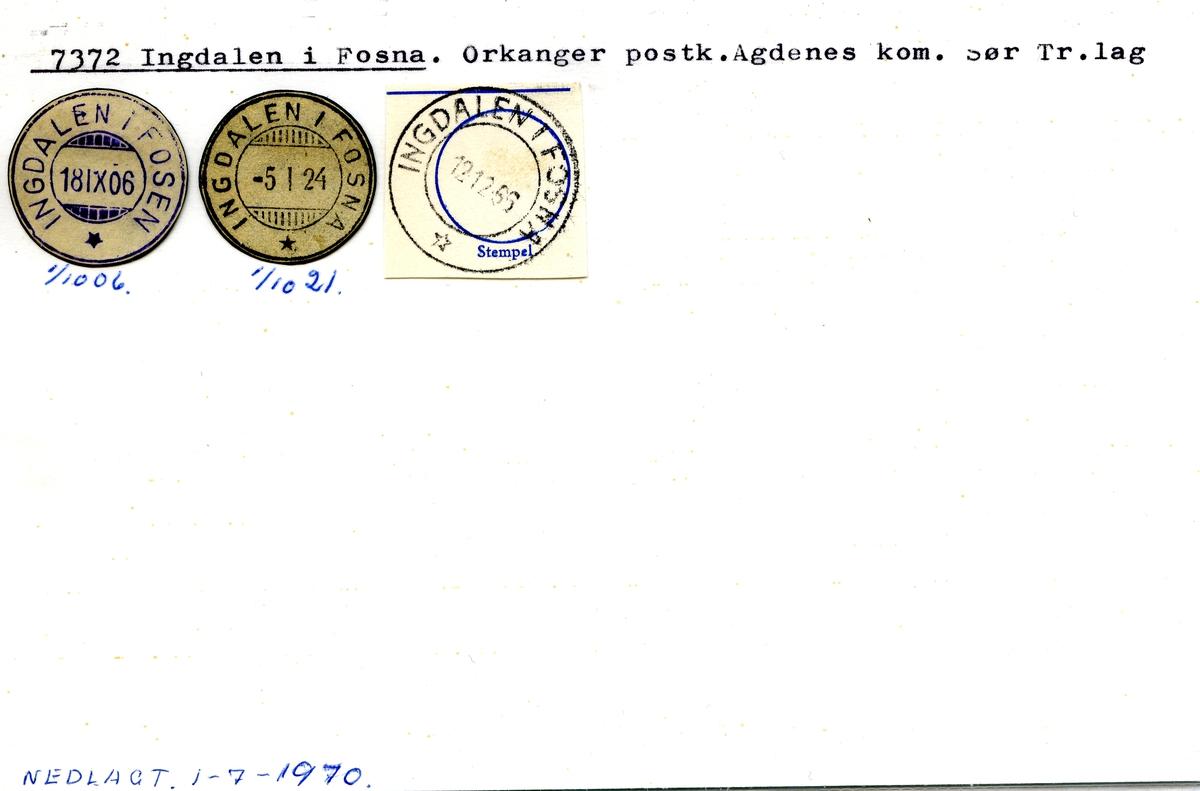 Stempelkatalog. 7372 Ingdalen i Fosna. Orkanger postkontor. Agdenes kommune. Sør-Trøndelag fylke.