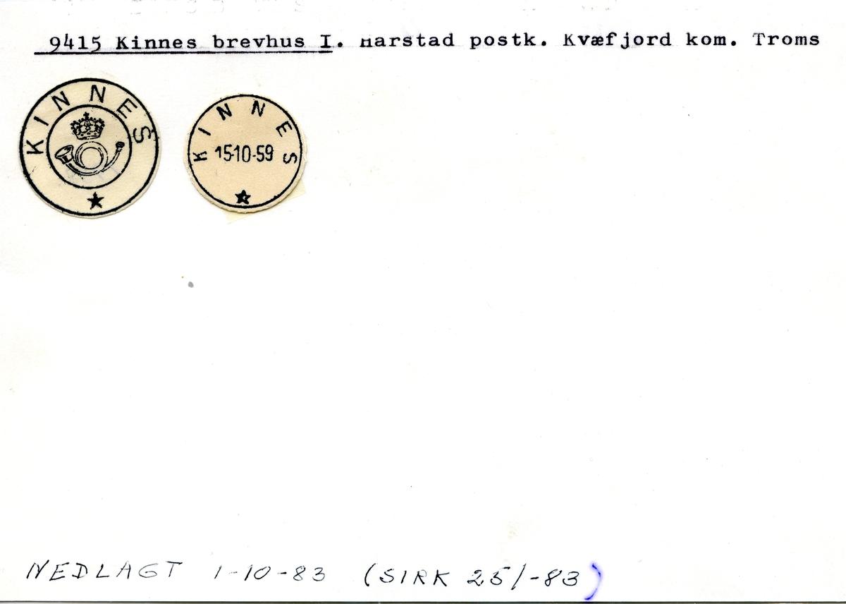 Stempelkatalog 9415 Kinnes, Harstad postk., Kvæfjord kommune, Troms
