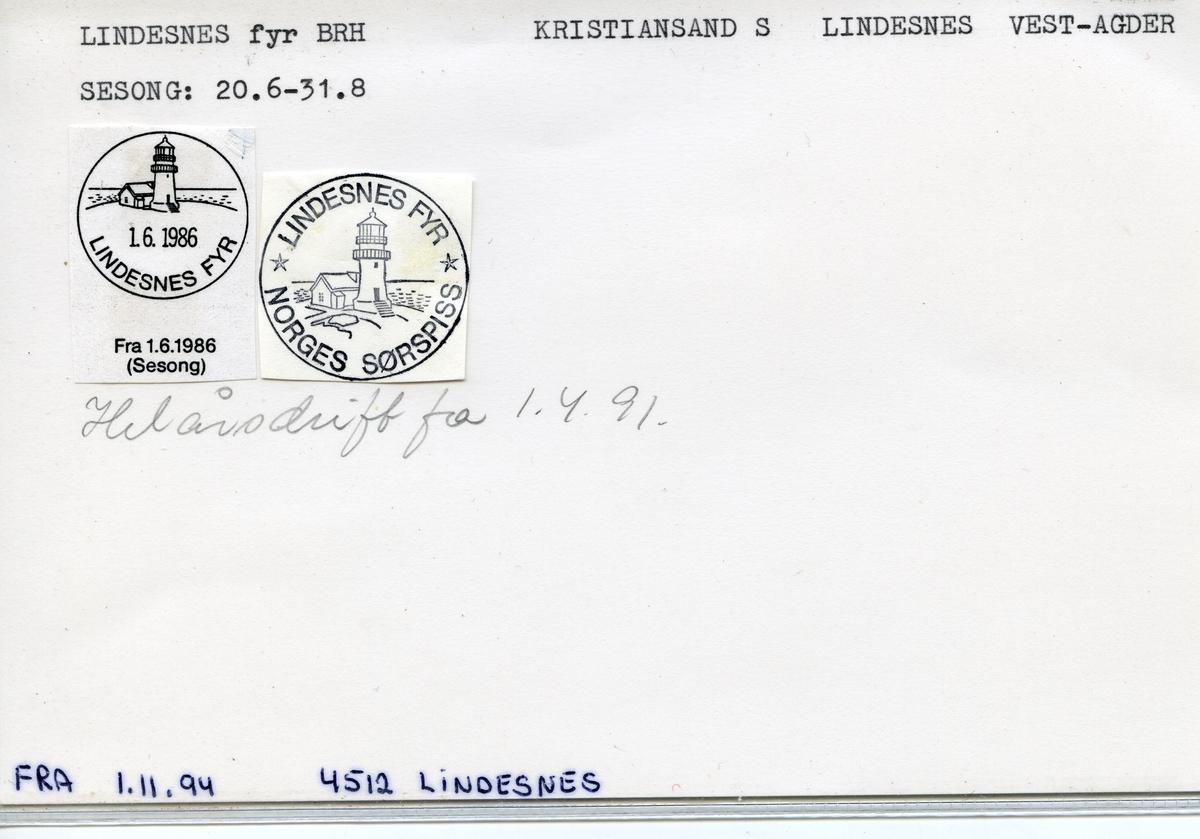 Stempelkatalog, Lindesnes Fyr, Kristiansand, Lindesnes kommune, Vest-Agder