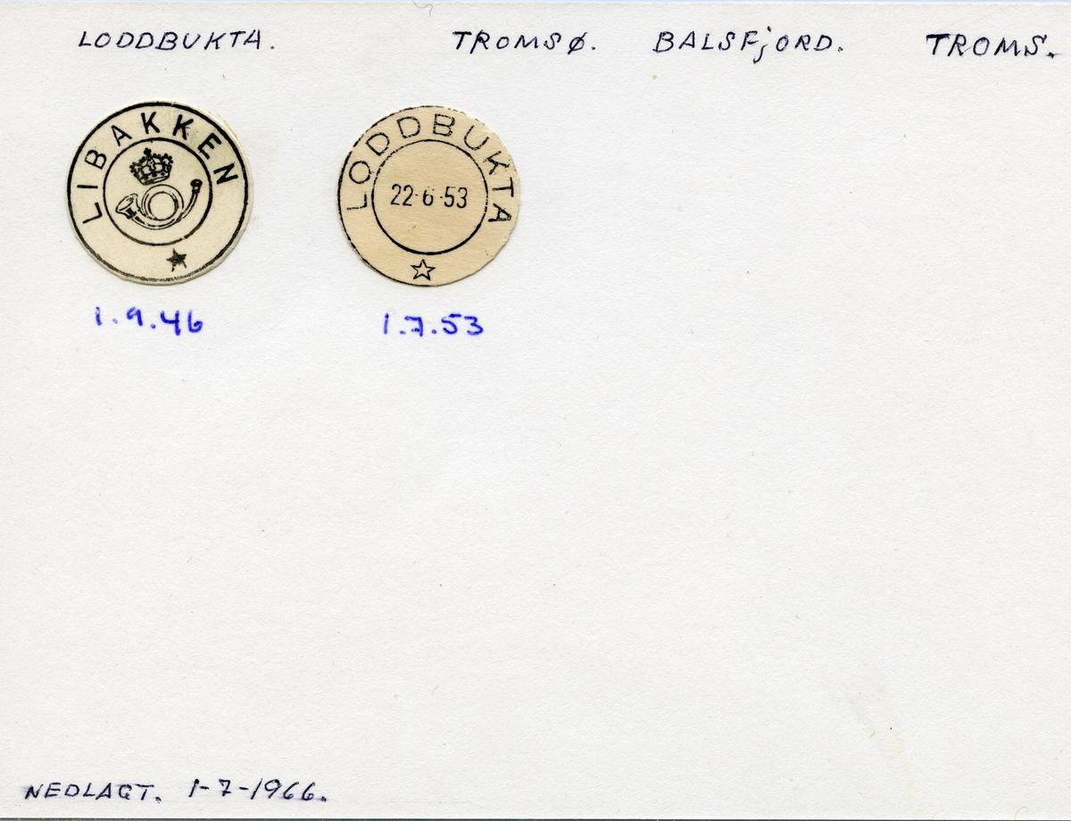 Stempelkatalog, Loddbukta, Tromsø, Balsfjord, Troms