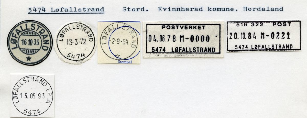 Stempelkatalog, 5474 Løfallstrand, Stord, Kvinnherad kommune, Hordaland