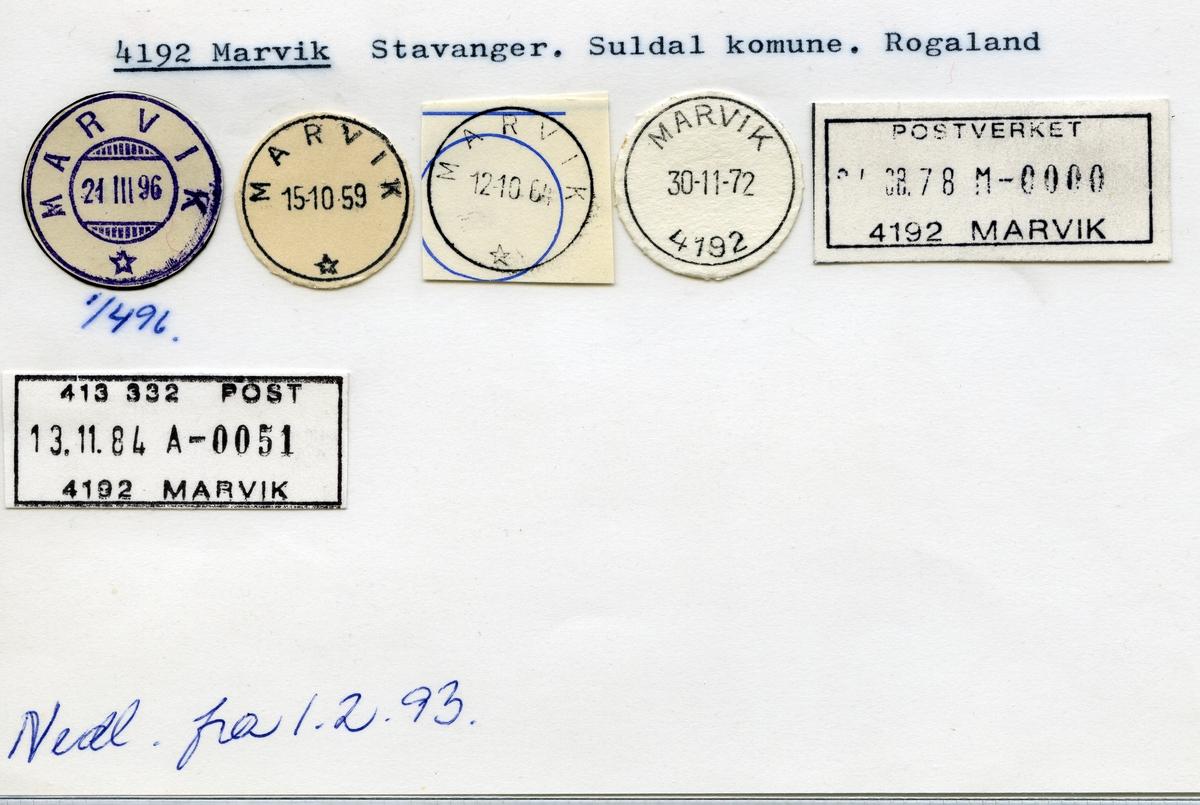 Stempelkatalog  4192 Marvik, Suldal kommune, Rogaland