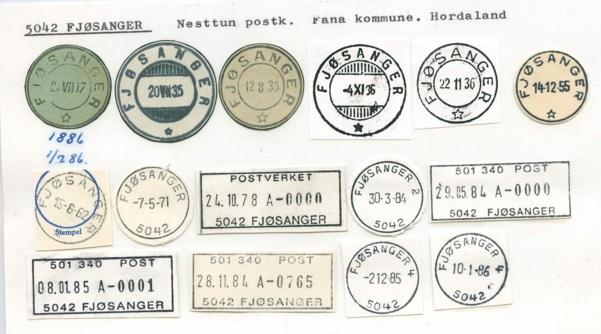 Stempelkatalog, 5042 Fjøsanger, Nesttun, Fana kommune, Hordaland