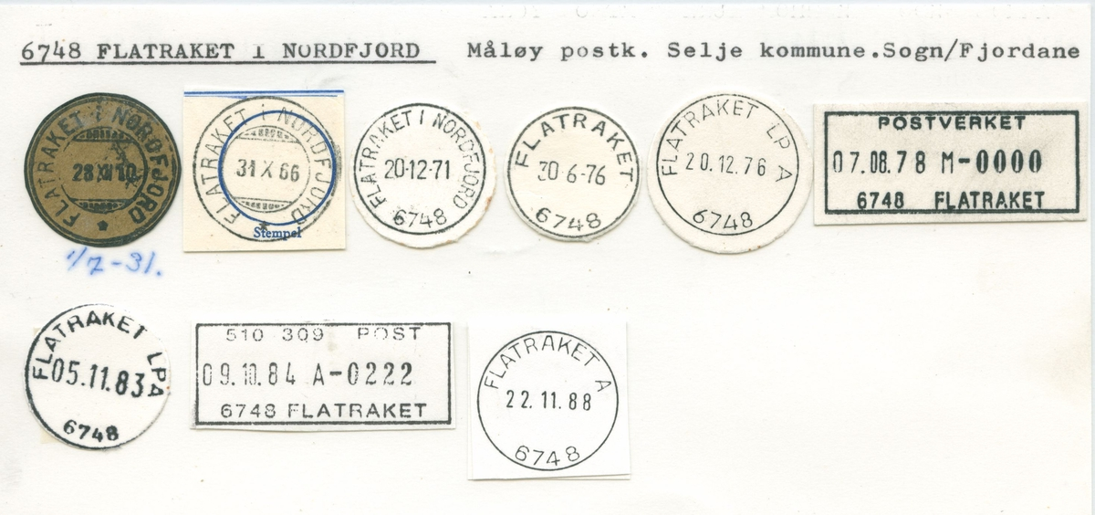 Stempelkatalog, Flatraket , Måløy, Selje kommune, Sogn og Fj.