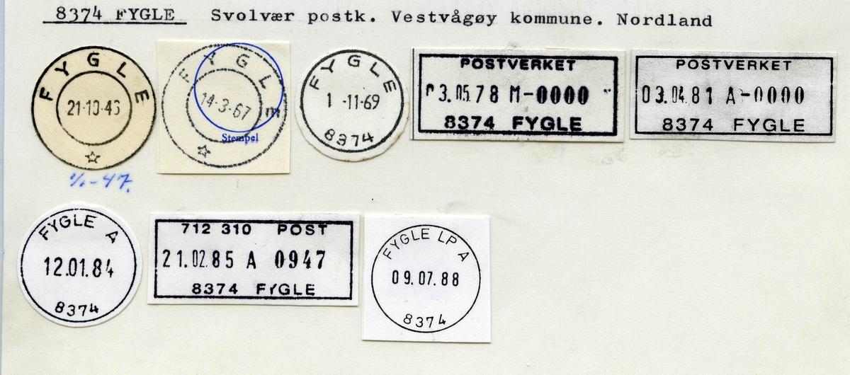 Stempelkatalog.8374 Fygle, Svolvær postk., Vestvågøy kommune, Nordland