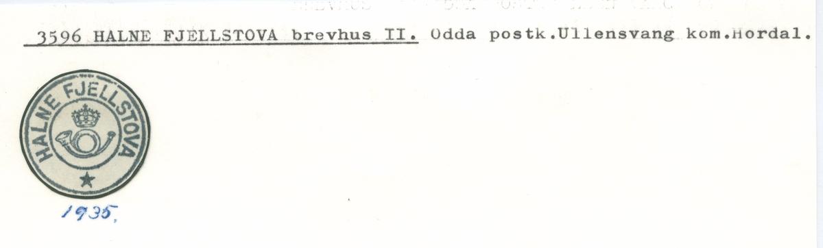 Stempelkatalog 3596 Halne Fjellstova, Ullensvang, Hordaland