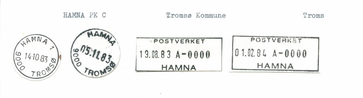 Stempelkatalog. Hamna, Tromsø kommune, Troms