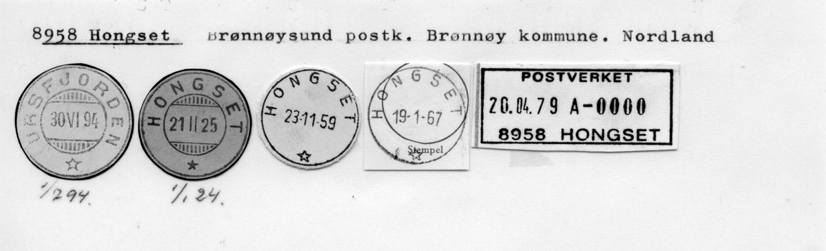 Stempelkatalog 8958 Hongset (Ursfjorden), Brønnøysund, Brønnøy, Nordland