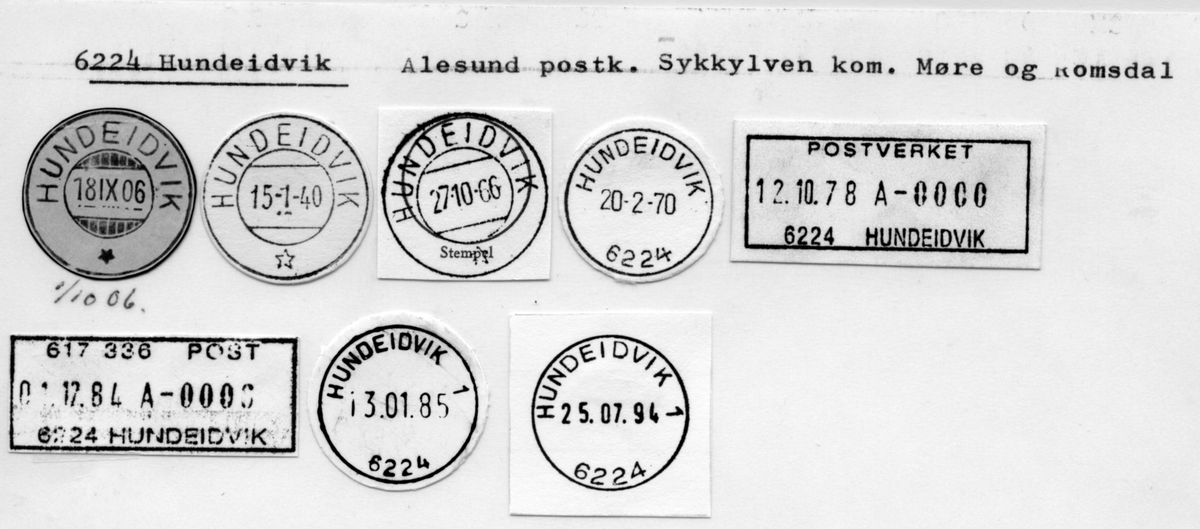 Stempelkatalog. 6224 Hundeidvik, Ålesund postk., Sykkylven kommune, Møre og Romsdal