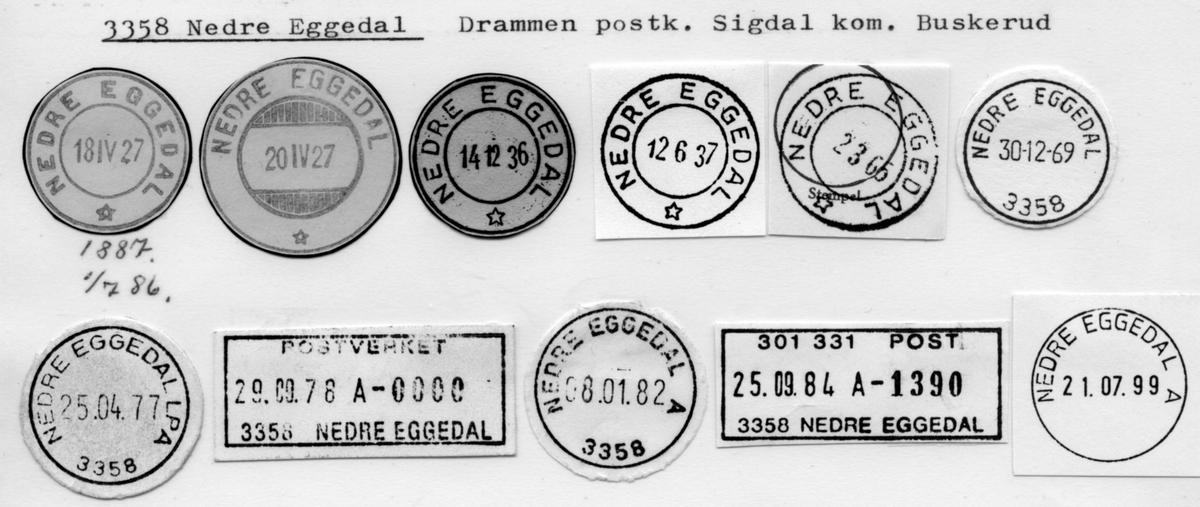 Stempelkatalog 3358 Nedre Eggedal, Drammen, Sigdal, Buskerud