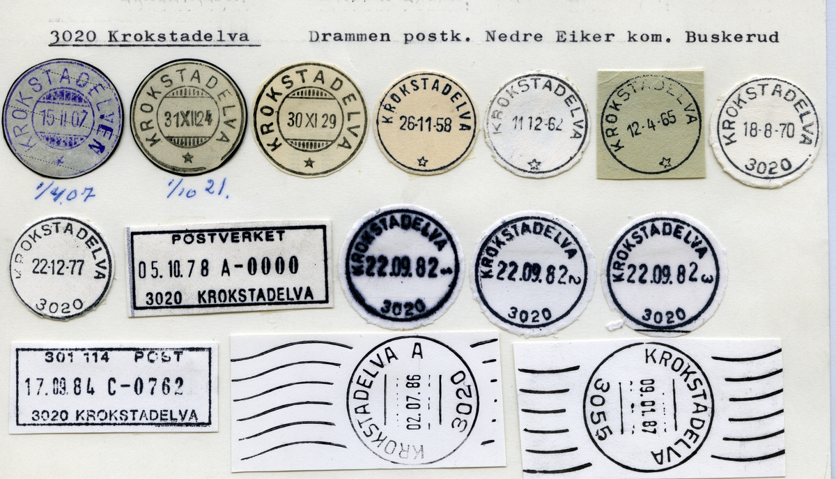Stempelkatalog  3020 Krokstadelva, Drammen, Nedre Eiker, Buskerud