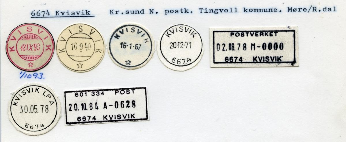 Stempelkatalog 6674 Kvisvik, Kristiansund, Tingvoll, Møre og Romsdal