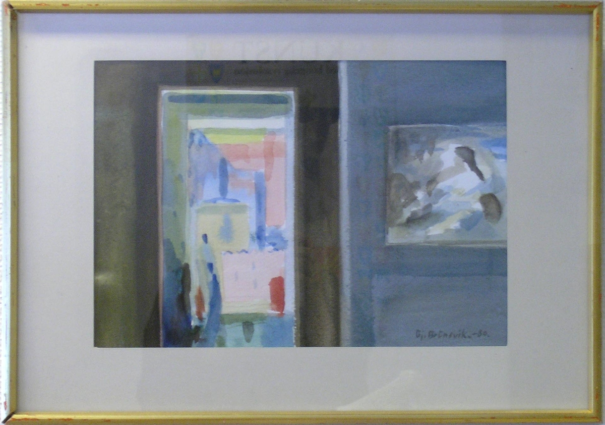 I stua hos Sossen og Guy [Maleri - Akvarell]