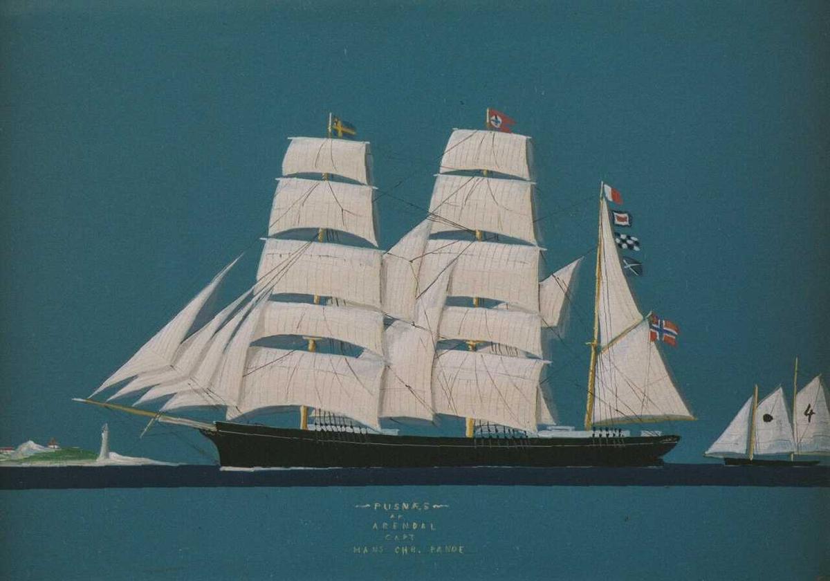 Mot sterkt turkis bakgrunn malt sort skip  m. sterkt hvite seil,   illusjonistisk for å ligne skutebilde med sydde silkeseil     På siden t.h. en   losbåt,  t. v. et fyrtårn   .