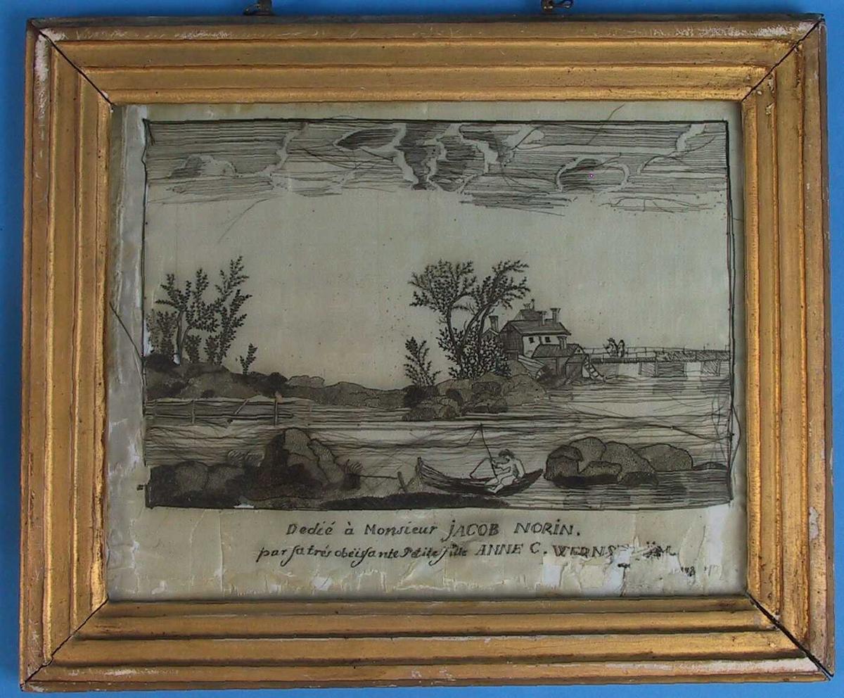 Landskap med bro og fiskebåt, 1784.  I forgr. store stener og en fortøyd liten pram en mann med fiskestang. I mellomgrunnen vann eg et gjerde og pm. Tv. en lang bro med to menn og en klynge hus.