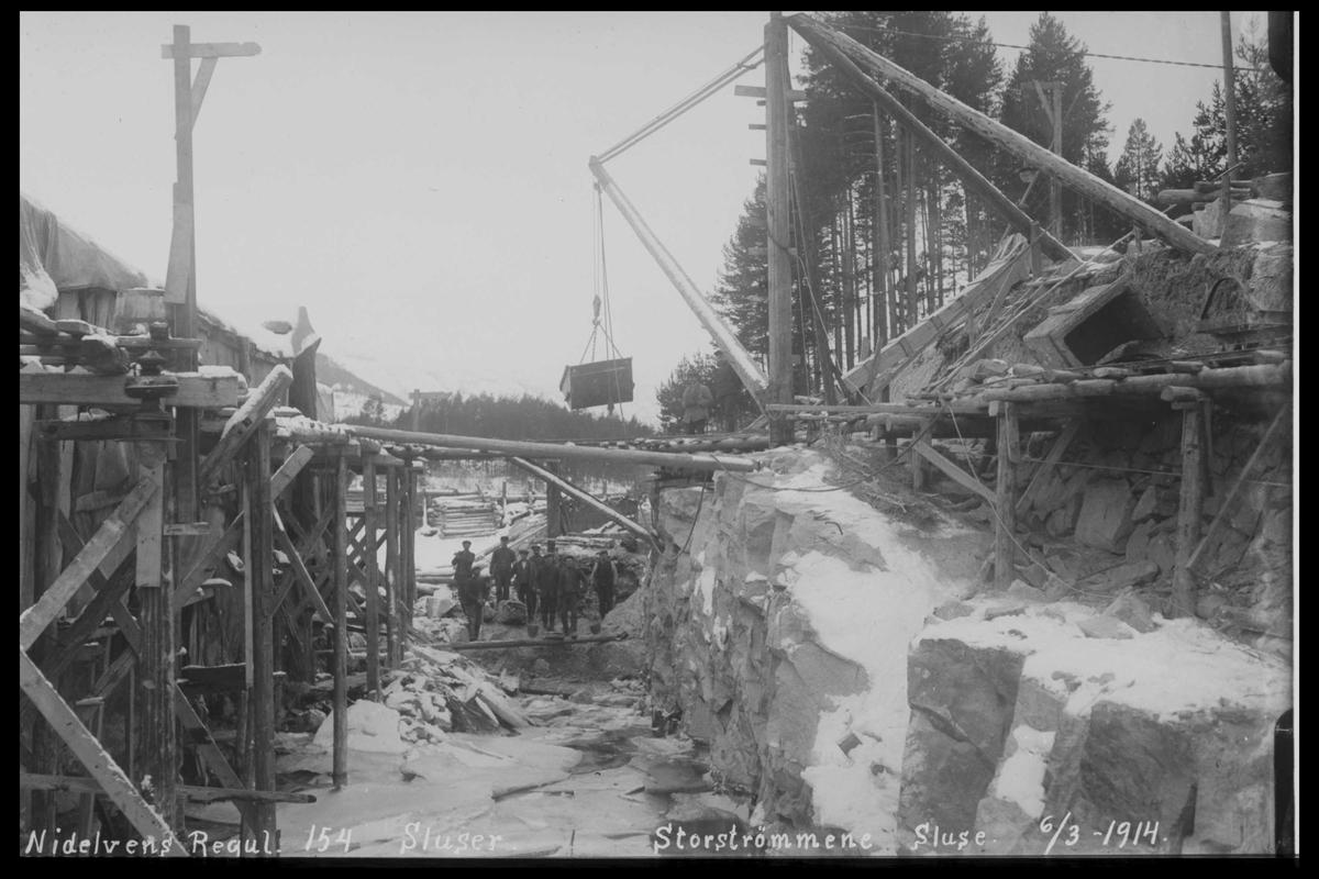 Arendal Fossekompani i begynnelsen av 1900-tallet CD merket 0446, Bilde: 22 Sted: Storstraumen dam og sluser Beskrivelse: Regulering