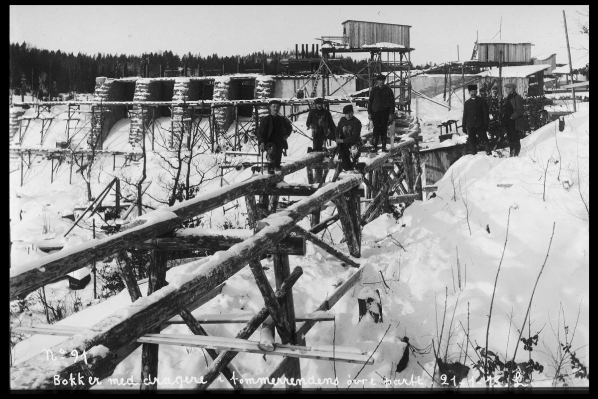 Arendal Fossekompani i begynnelsen av 1900-tallet CD merket 0565, Bilde: 28 Sted: Haugsjå Beskrivelse: Bukker til tømmerrenna