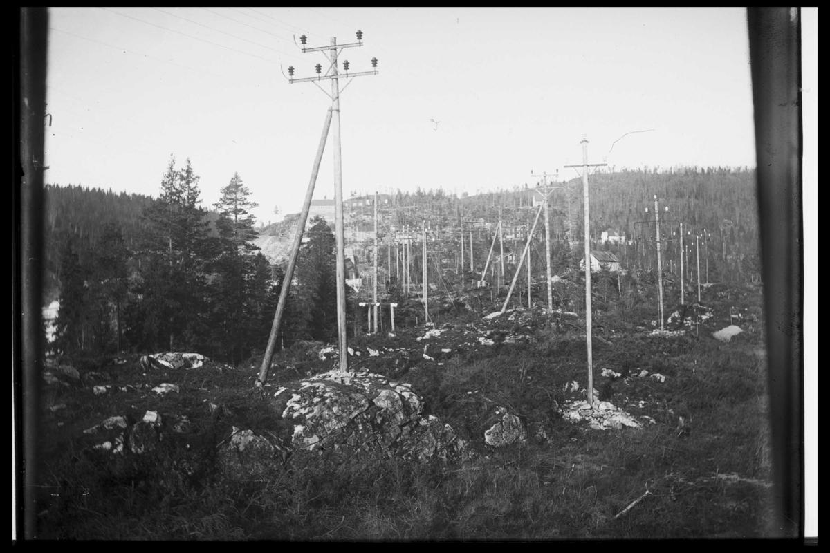 Arendal Fossekompani i begynnelsen av 1900-tallet CD merket 0565, Bilde: 92 Sted: Bøylefoss høyspentlinjer Beskrivelse: Linje 3 og 4. Samt forsyningen fra Evenstad