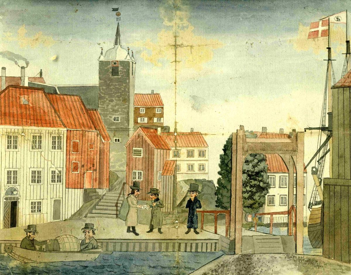 Tyholmen i Arendal Orginal tegning
