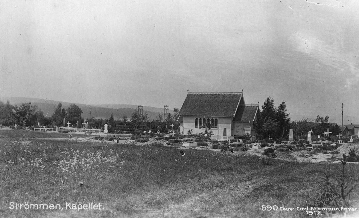 Strømmen  gamle kapell på Stalsberghagen gravlund. Postkortfoto 590