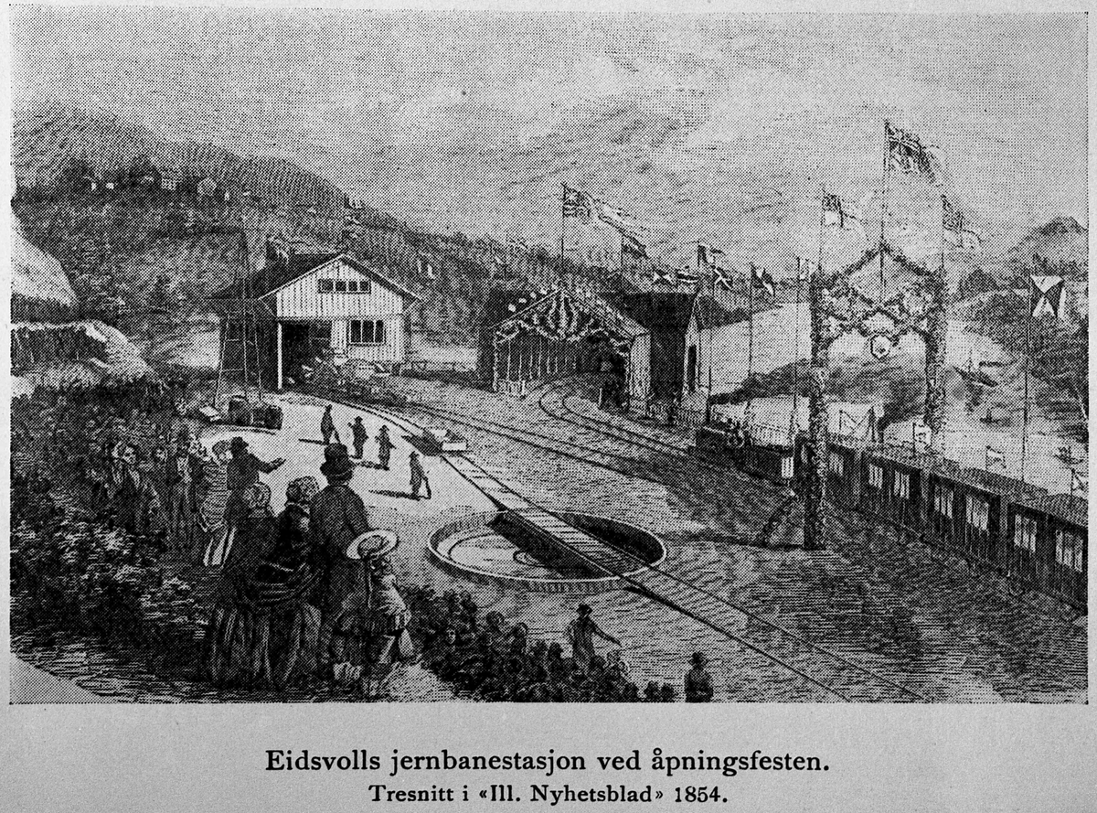 "Eidsvoll Bad. Utsikt fra Eidsvoll Bad: Eidsvoll Jernbanestasjon ved åpningsfesten.  Tresnitt i ""Illustrert Nyhetsblad"" 1854."
