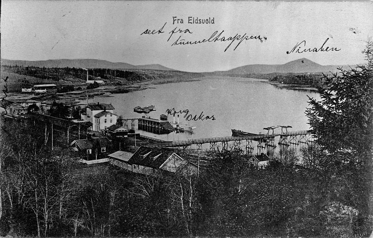 Eidsvoll stasjon en gang etter 1890. Dampskipet Kong Oskar kan sees på bildet.