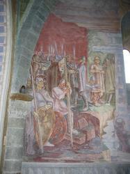 Kirkekunst med scener fra slaget på Stiklestad