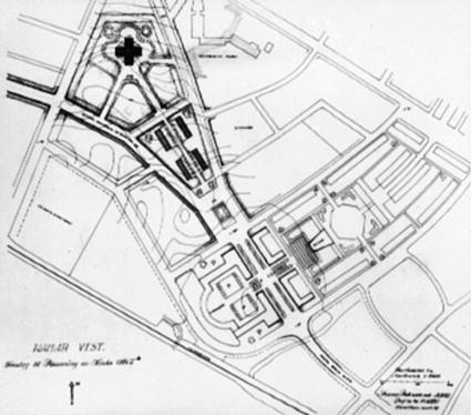 HAMARKART 1949, FORSLAG TIL BYREGULERING AV ARKITEKT SVERRE PEDERSEN, STORHAMAR MED PLASSERING AV NY KIRKE.