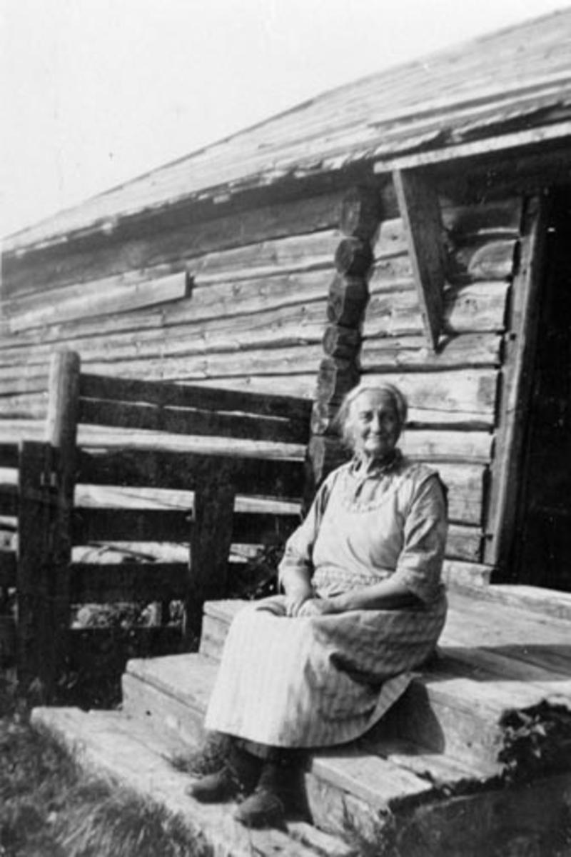 Seterbudeie Anne Berg på trappa til størhuset, Kisesetra, Løvlia, Ringsakerfjellet.