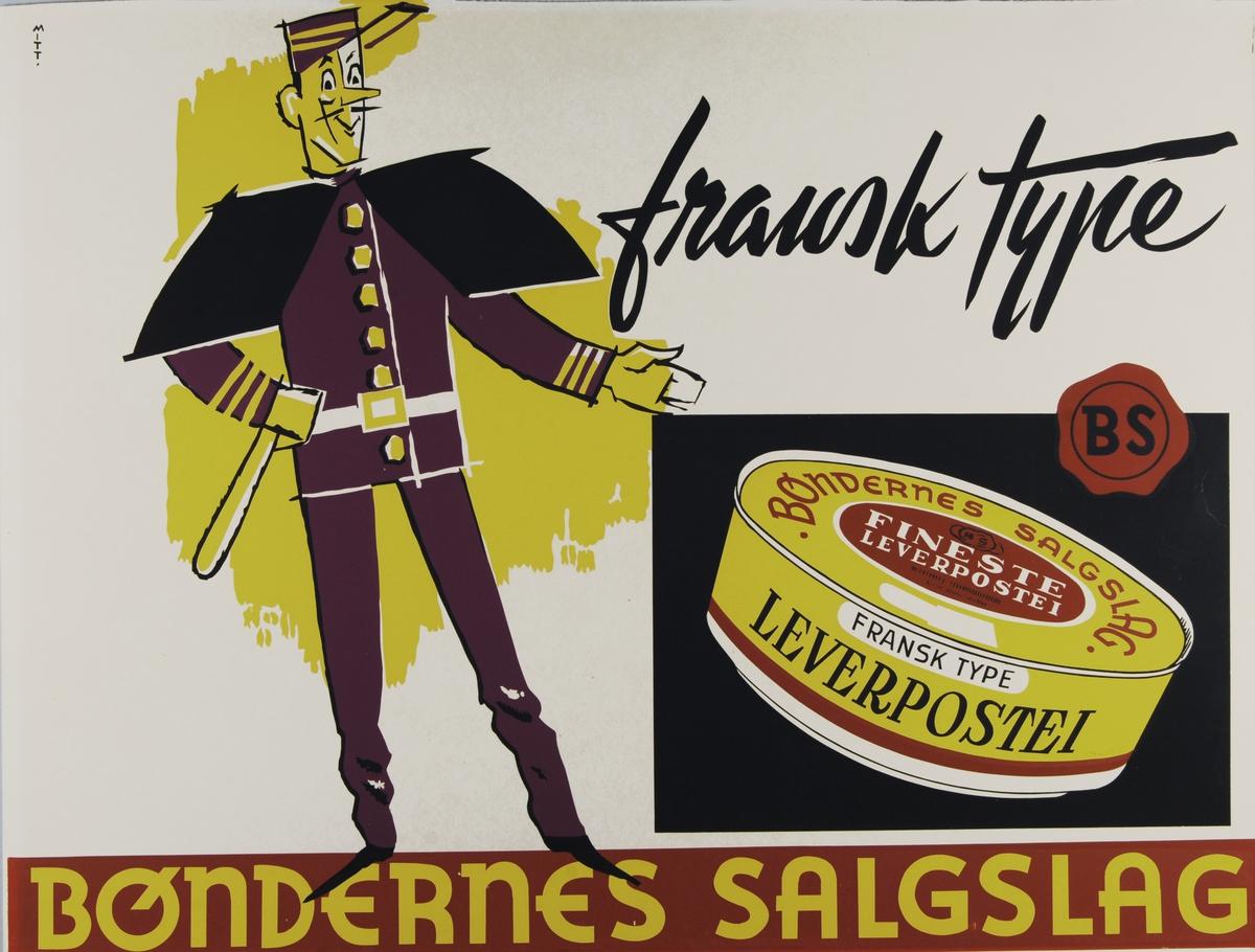 En illustrert franskmann reklamerer for leverpostei av fransk type.