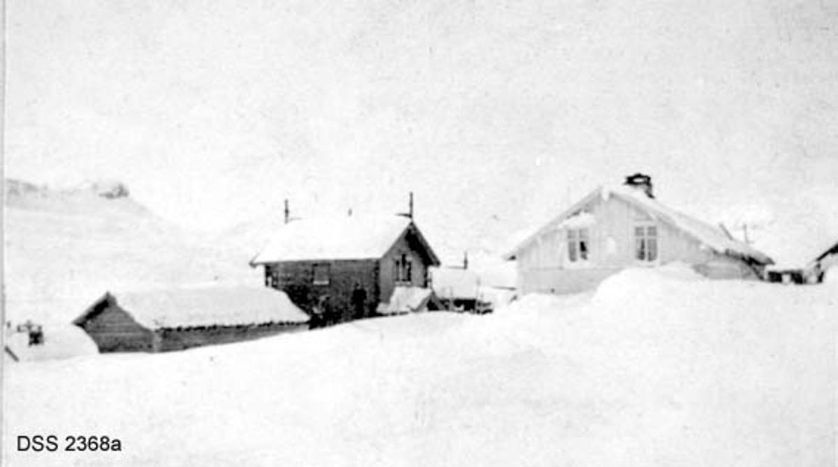 Haukeliseter fjellstue.  Seks vinteropptak, antakelig fra tida like før 1900.  A. Våningshus i djupsnø, en panelt og kvitmalt bygning til høgre, en uthusbygning og et våningshus i drakestil til venstre for dette.  B.  Uthus og våningshus i drakestil, mann med hund foran drakestilhuset.  C.  Våningshus med drakestilpreg, der særlig en toetasjes fløy til høyre i bildet har lånt trekk fra stabbur og loft i Telemark og Numedal.  D. Panelt og kvitmalt våningshus i en etasje, men med rom på loftet.  Snøen står om lag midt på veggen på forsida av huset, nestet opp til raftet på baksida.  En mann bærer noe mot inngangen.  E.  Bryggerhusliknende bygning med torvtak.  En mann ved langveggen og en i døra.  F.  11 personer foran inngangen til den kvite bygningen på fjellstua. Reinsdyrgevir over døra.