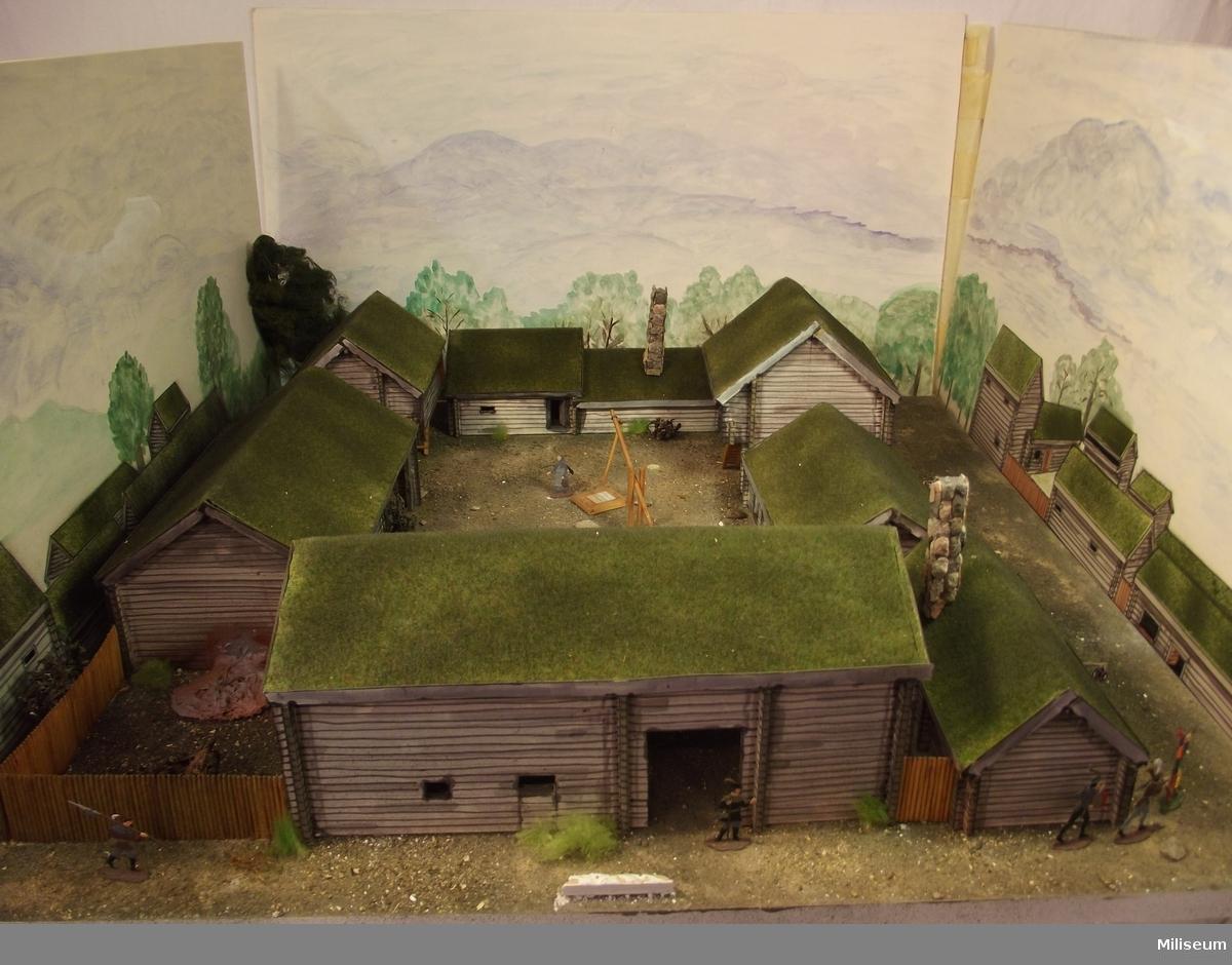 Diorama av gård i det medeltida Jönköping.