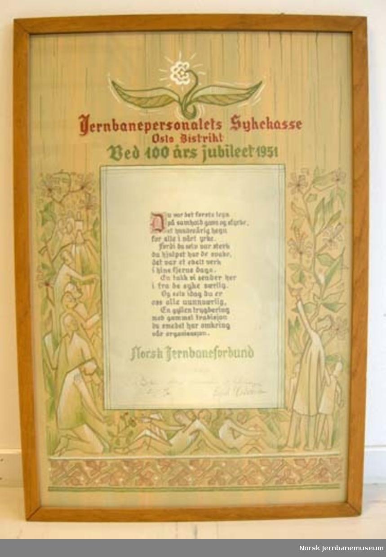 Adresse : fra Jernbaneforbundet til Jernbanepersonalets sykekasse Oslo distrikt - ved 100 års jubileet 1951