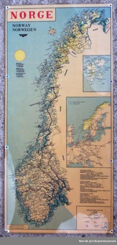 Kart over Norge med alle jernbanestrekninger