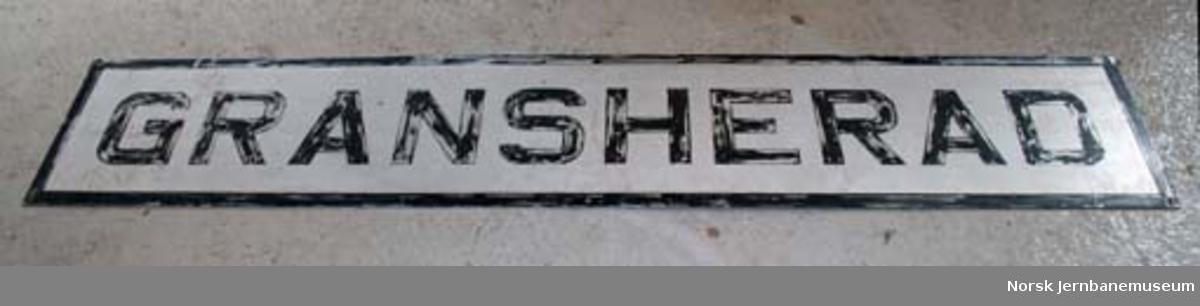 Stasjonsskilt fra Gransherad stasjon