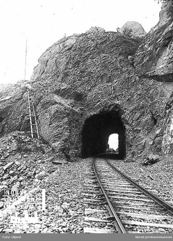 En kort tunnel, trolig på Flekkefjordbanen