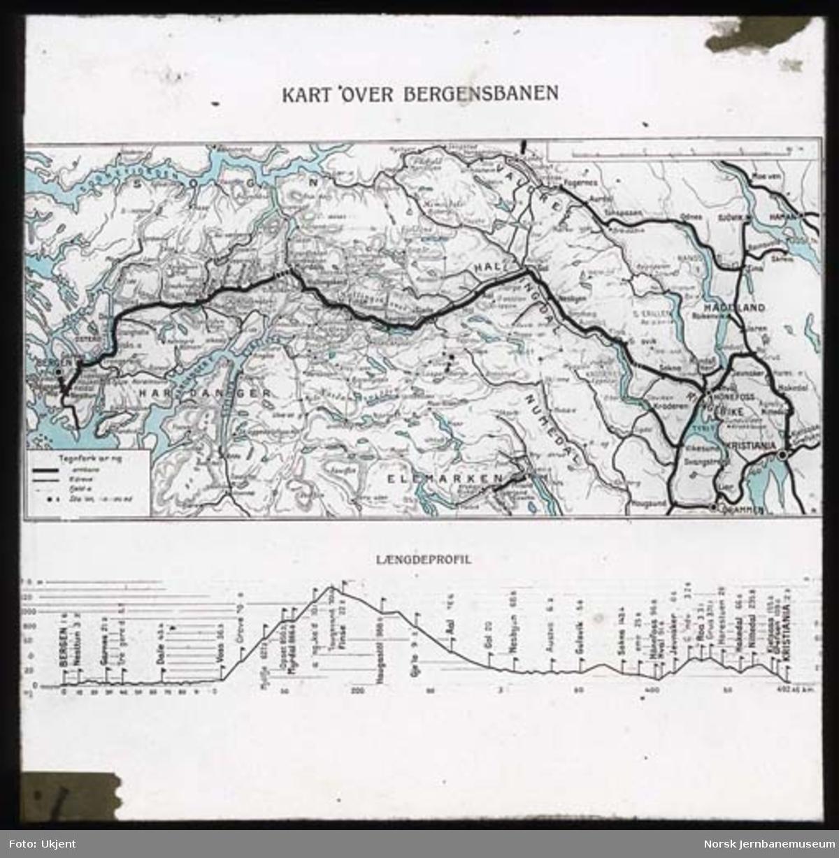 Foto av kart over Bergensbanen