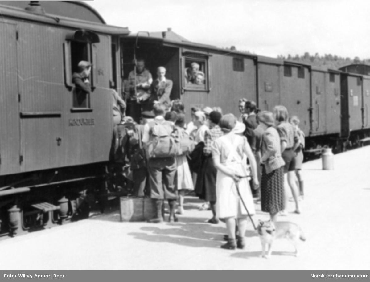Persontransport reisegodsavdelingen og i godsvogner på Geilo stasjon; kø utenfor