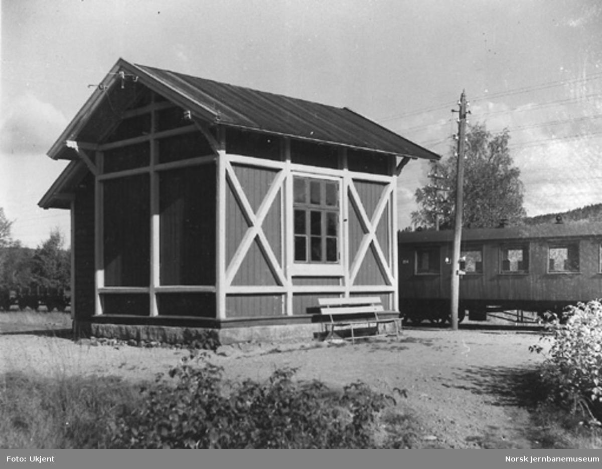 Hornesund stasjonsbygning : tog ved plattformen