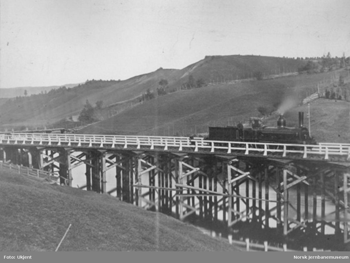 Bru nr. 1 over Andelva : første bru nord for Løken tunnel, damplokomotiv på brua