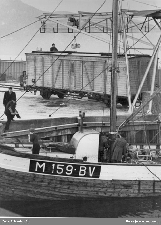 Heising av levendefisk fra brønnbåt til fisketankvogn