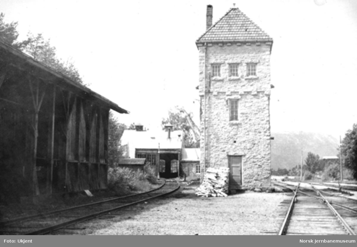 Treungen stasjon med vanntårn, lokomotivstall og kullskur