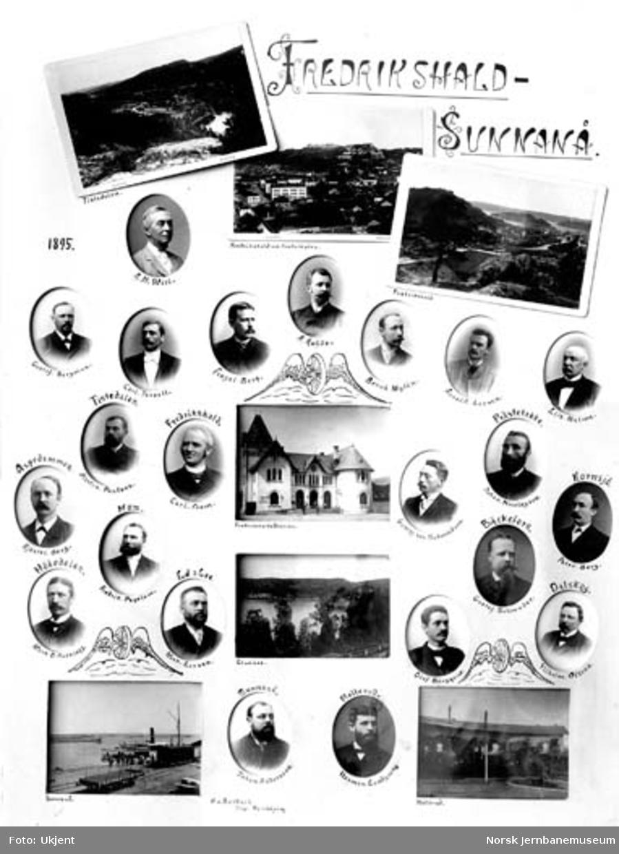 Fotomontasje med ansatte på og bilder fra Dalslands Järmväg - Fredrikshald-Sunnanå