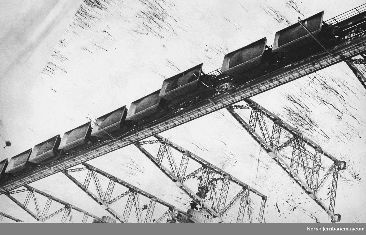 Avsporing 21. mars 1975 med malmtog på bru ved Norddalsenden