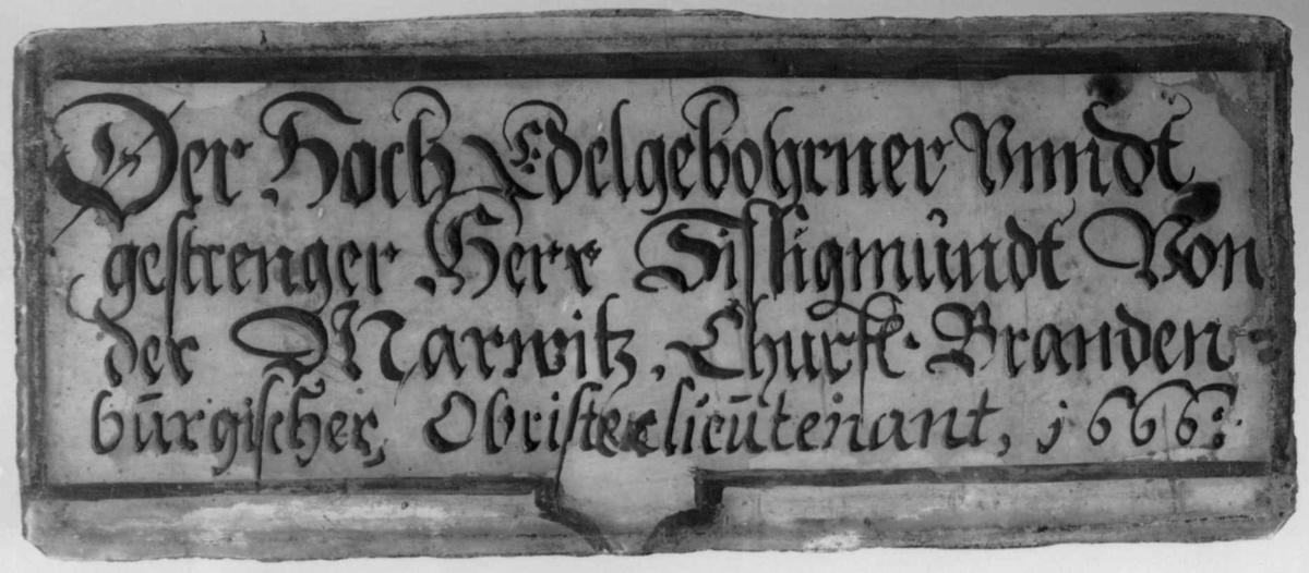 Malt glssrute: Der Hoch Velgebohener Unndt gestrenger Herr Silligmündt Von der Marwitz.