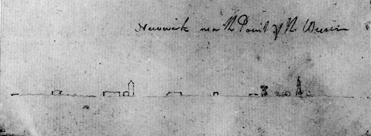 """Neüwerk v. CuxhavenFra skissealbum av John W. Edy, """"Drawings Norway 1800""""."""