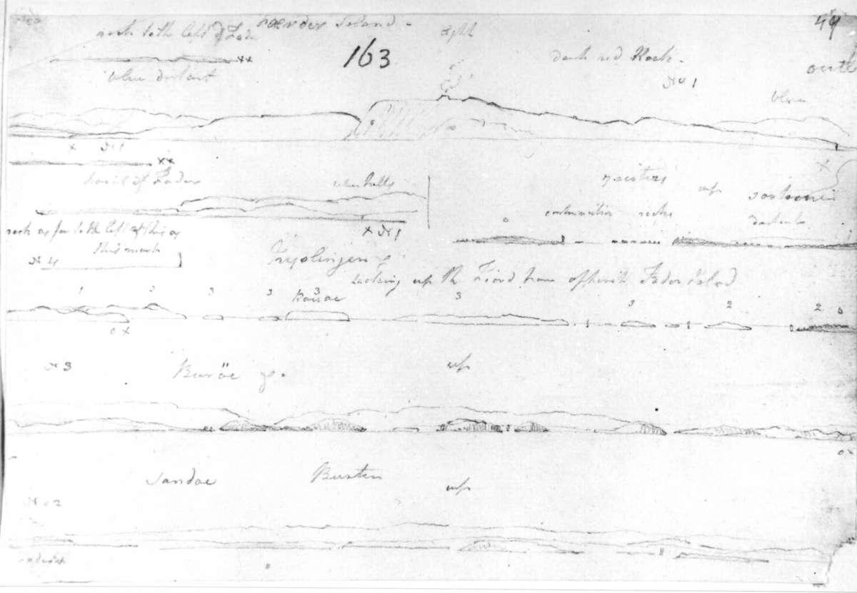 """FæderFra skissealbum av John W. Edy, """"Drawings Norway 1800""""."""