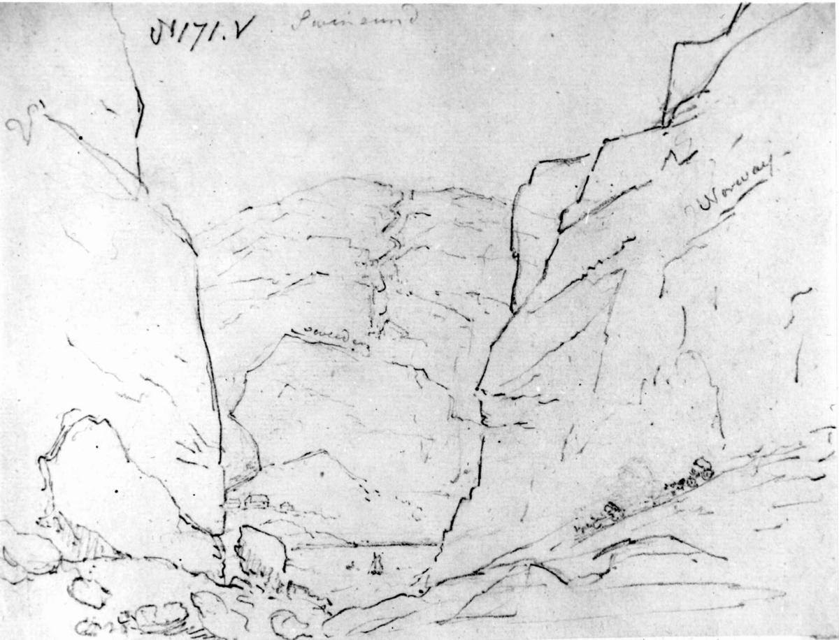 """ØstfoldFra skissealbum av John W. Edy, """"Drawings Norway 1800""""."""